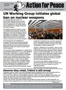 Action for Peace newsletter front page