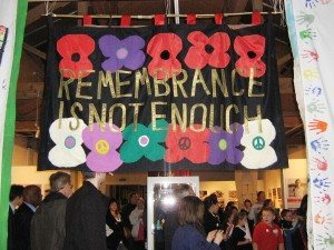 Photo of banner on Display at the Bradford Peace Museum